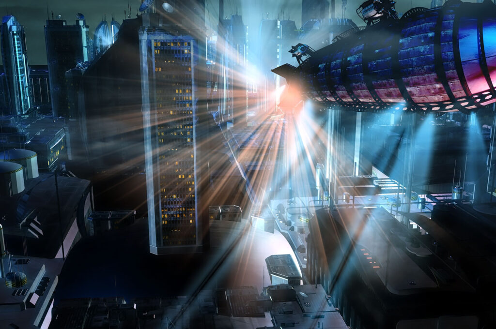 サイバーパンク、近未来SFの未来都市外観背景素材を10枚追加しました。