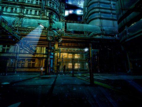 【背景素材】サイバーパンクの世界観と街の外観の背景イラストを一部追加しました