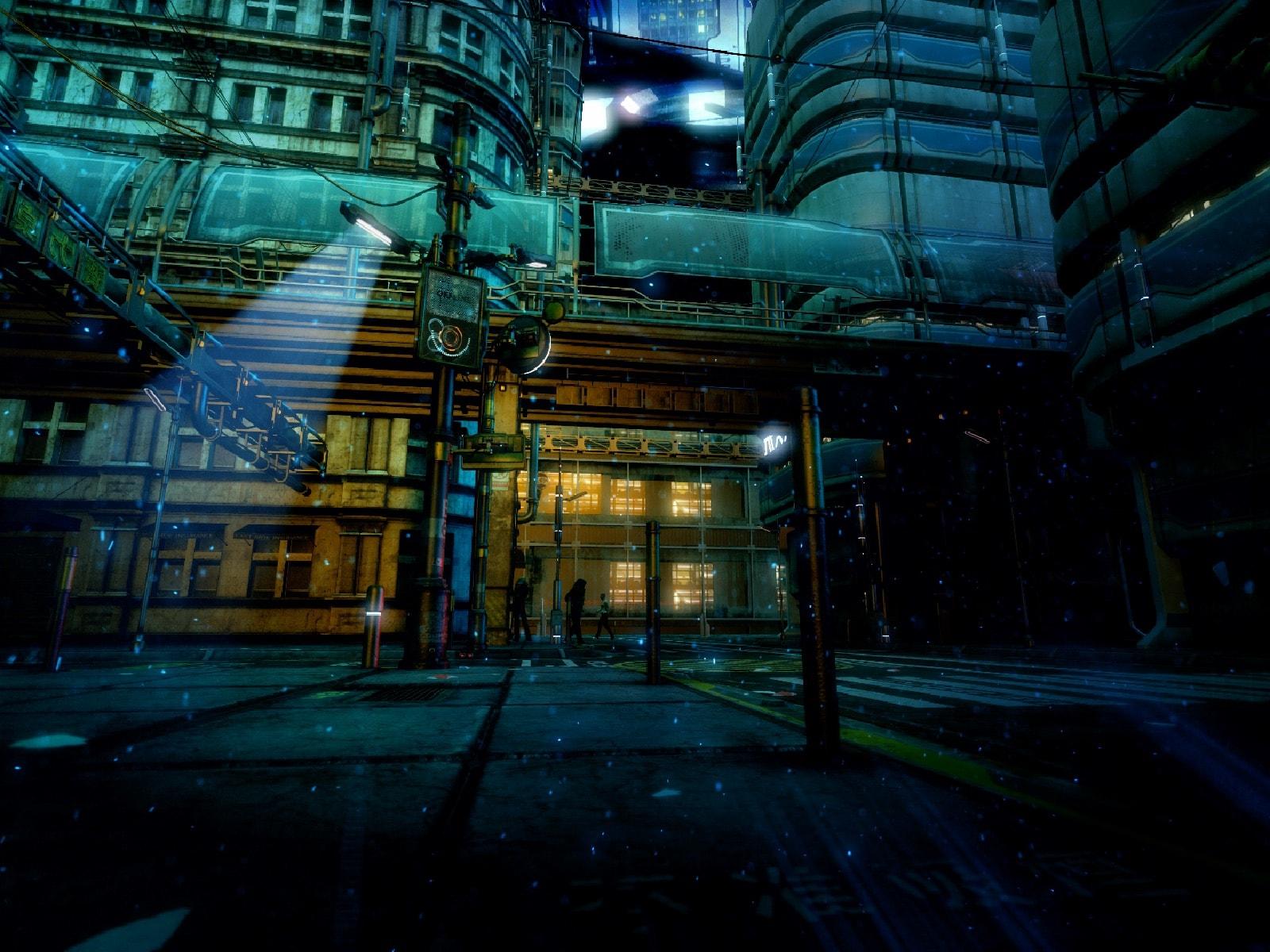 背景素材サイバーパンクの世界観と街の外観の背景イラストを一部追加